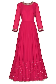 Crimson Red Embroidered Anarkali Gown with Dupatta by Vvani by Vani Vats