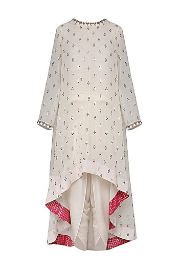 Off White Asymmetrical Embroidered Kurta with Dhoti Pants by Vvani by Vani Vats
