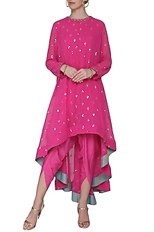 Pink Asymmetrical Embroidered Kurta with Dhoti Pants by Vvani by Vani Vats