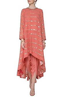 Burnt Orange Asymmetrical Embroidered Kurta with Dhoti Pants by Vvani by Vani Vats