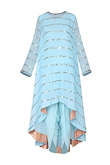 Sky Blue Asymmetrical Embroidered Kurta with Dhoti Pants by Vvani by Vani Vats