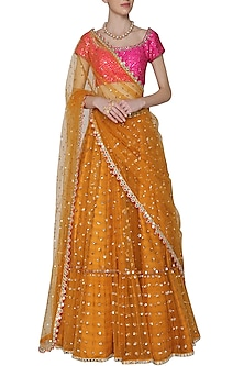 Mustard and Hot Pink Embroidered Lehenga Set by Vvani by Vani Vats