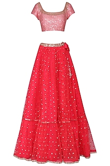 Red and Baby Pink Embroidered Lehenga Set by Vvani by Vani Vats