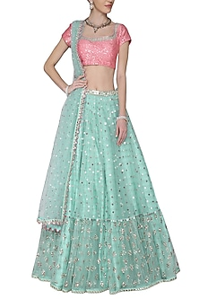 Sky Blue and Baby Pink Embroidered Lehenga Set by Vvani by Vani Vats