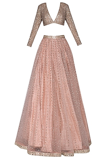 Blush pink and light pink embroidered lehenga set by Vvani by Vani Vats