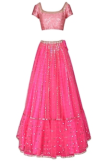 Hot Pink and Baby Pink Embroidered Lehenga Set by Vvani by Vani Vats