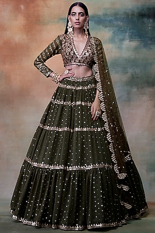 Olive Green Embroidered Lehenga Set by Vvani by Vani Vats