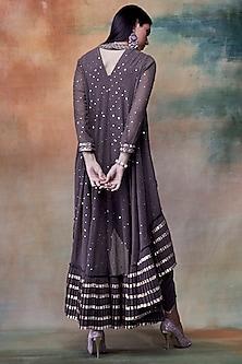 Charcoal Grey Embroidered Kurta With Dhoti Pants by Vvani by Vani Vats