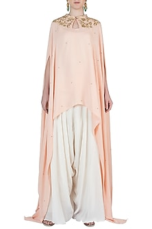 Tea Rose Embroidered Cape with Camisole and Dhoti Pants by Varsha Wadhwa