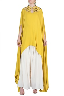Yellow Embroidered Cape with Camisole and Dhoti Pants by Varsha Wadhwa