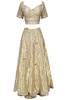 Gold Zari, Sequins and Patent Leather Flowers Lehenga Set by Varsha Wadhwa