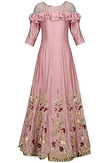 Pink Zari-Sequins-Cutdana Embroidered Anarkali Set by Varsha Wadhwa