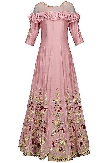 Pink Zari-Sequins-Cutdana Embroidered Anarkali Set by Varsha Wadhwa