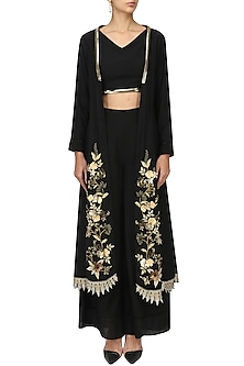 Black Crop Top and Palazzo Set with Embroidered Jacket by Varsha Wadhwa