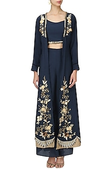 Navy Crop Top and Palazzo Set with Embroidered Jacket by Varsha Wadhwa