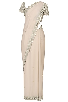 Prosseco Color Zari and Cutdana Saree with Embroidered Blouse by Varsha Wadhwa