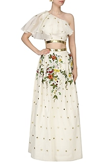 Off White Crop Top and Embroidered Box Pleat Skirt Set by Varsha Wadhwa