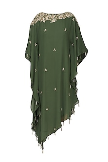 Bottle Green Embroidered Asymmetric Kaftan by Varsha Wadhwa