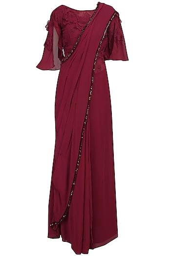 Garnet Red Floral Applique Work Drape Saree by Varsha Wadhwa