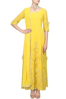 Maize Yellow Floral Applique Work Anarkali Set by Varsha Wadhwa