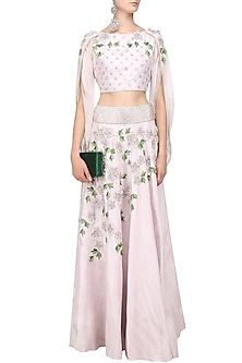 Silver Mauve 3D Floral Embroidered Lehenga Set by Varsha Wadhwa