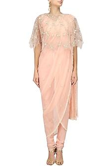 Salmon Pink Embroidered Cape, Drape Saree and Pants Set by Varsha Wadhwa
