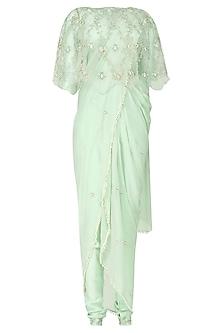 Mint Green Embroidered Cape, Drape Saree and Pants Set by Varsha Wadhwa
