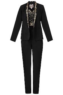 Black Embellished Bralette with Jacket and Pants by Varsha Wadhwa