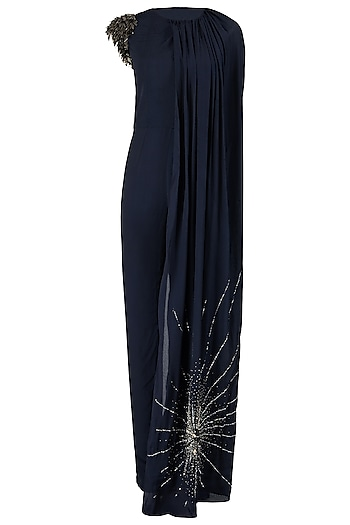 Midnight Blue One Shoulder Embroidered Cape Jumpsuit by Varsha Wadhwa