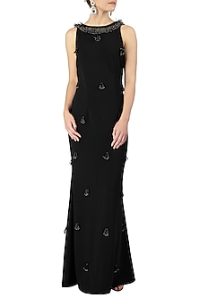 Black Embellished Sleeveless Gown by Varsha Wadhwa