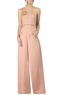 Nude One Shoulder Embroidered Crop Top with Palazzo Pants by Varsha Wadhwa