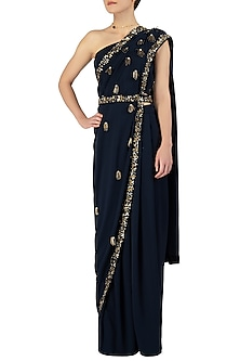 Midnight Blue Embellished Pre-Draped Saree with Blouse and Belt by Varsha Wadhwa