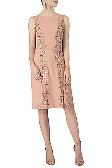 Nude Embroidered Midi Dress by Varsha Wadhwa