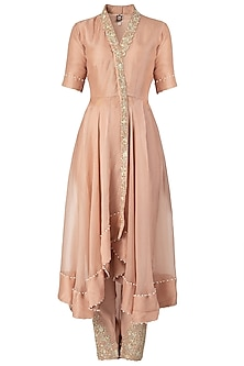 Nude Embroidered Long Kurta Set by Varsha Wadhwa