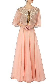 Tea Rose Embroidered Cape with Crop Top and Skirt by Varsha Wadhwa