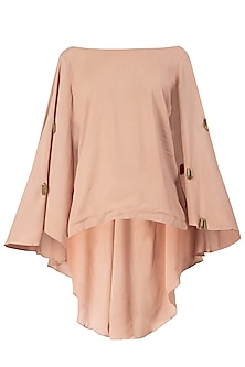 Nude Embroidered Cape Top by Varsha Wadhwa