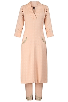Tea Rose Embroidered Mullet Tunic with Pants by Varsha Wadhwa