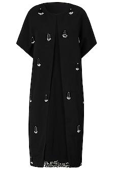 Black Embellished Cape with Shift Dress by Varsha Wadhwa