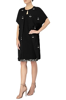 Black Embellished Cape with Shift Dress by Varsha Wadhwa