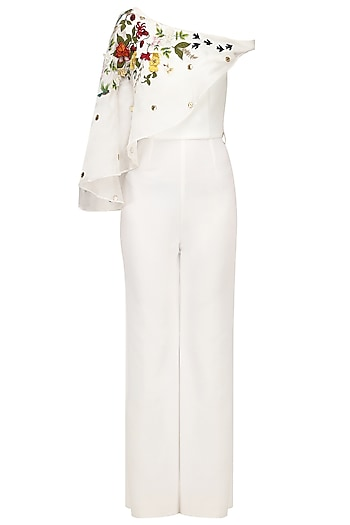 Off White Embroidered Cape Jumpsuit by Varsha Wadhwa