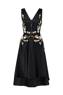 Black Flower Embroidered Midi Dress by Varsha Wadhwa
