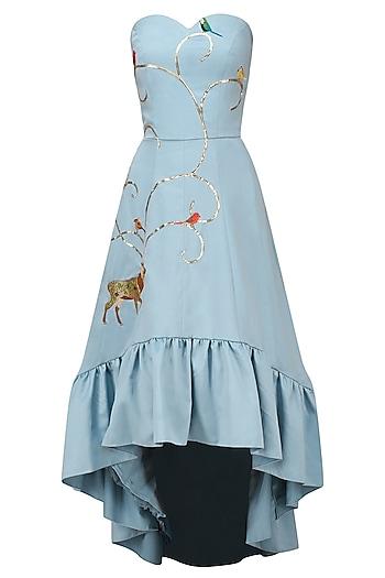 Powder Blue Embroidered Mullet Dress by Varsha Wadhwa