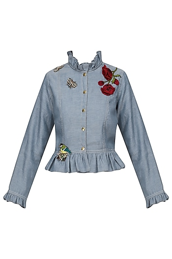 Denim Blue Bugs Jacket by Varsha Wadhwa