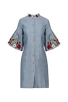 Denim Blue Pansy Flower Dress by Varsha Wadhwa