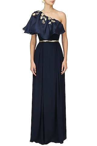 Midnight Blue Bugs Embroidered Cape Gown by Varsha Wadhwa
