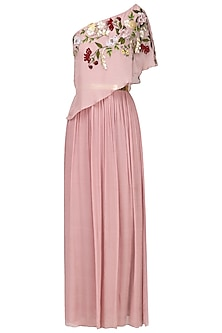 Onion Pink Flowers Embroidered Cape Gown by Varsha Wadhwa