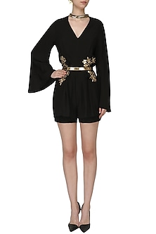 Black Embroidered Pleated Romper by Varsha Wadhwa