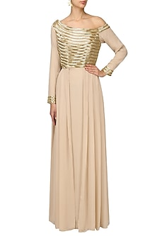 Prosseco Embellished One Shoulder Mermaid Gown by Varsha Wadhwa