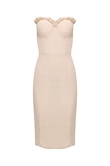 Nude Pearl Highlighted Off Shoulder Bodycon Dress by Varsha Wadhwa