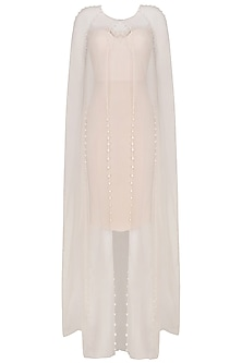 Nude Pearl Highligthed Front Open Cape by Varsha Wadhwa